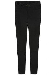 Solid Color Single-Breasted Pants - Black S