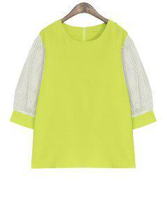 Color Block Half Sleeve Blouse - Neon Green