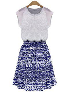 Blue Geometric Print Short Sleeve Dress - Purplish Blue Xl