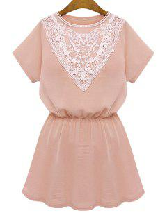 Lace Splicing Elastic Short Sleeve Dress - Pink Xl