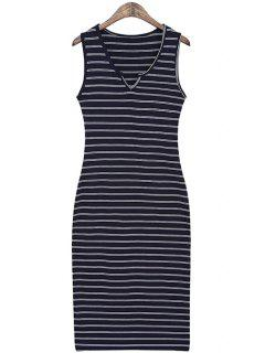Striped Slimming Sundress - Deep Blue
