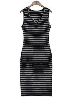 Striped Slimming Sundress - Black