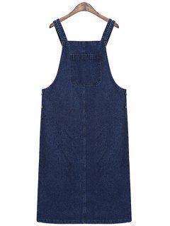 Solid Color Straps Denim Dress - Blue