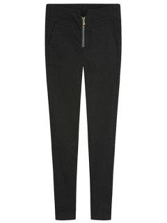 Solid Color Zipper Skinny Pants - Black M