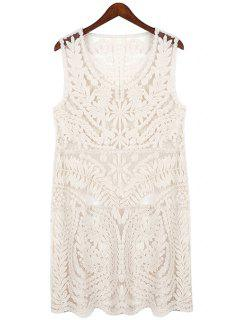 Openwork Lace Sleeveless Dress - Off-white