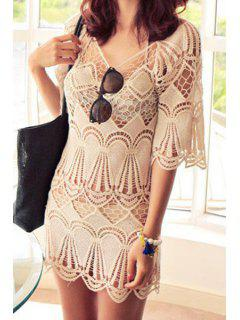 Openwork Solid Color Half Sleeve Dress - Off-white M