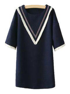 Striped Fringe 3/4 Sleeve Dress - Purplish Blue