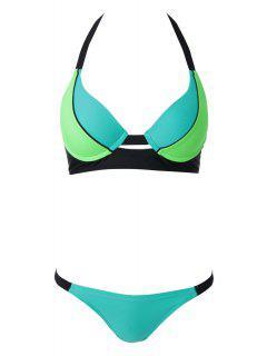 Halterneck Lace Splicing Bikini Set - Blue And Green L
