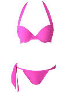 Push-Up Solid Color Halter Bikini Set - Plume M