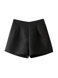 Wide Leg Solid Color Shorts - Black L
