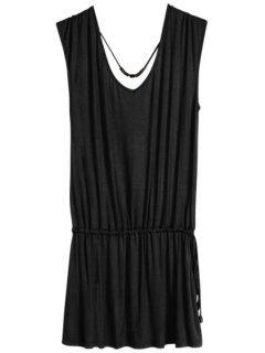 Solid Color V-Neck Elastic Waisted Dress - Black