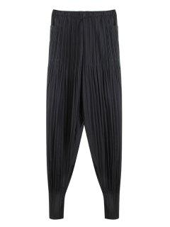 Solid Color Ruffle Elastic Waist Pants - Black