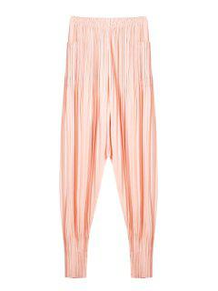 Solid Color Ruffle Elastic Waist Pants - Pink