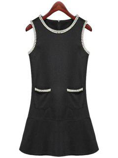 Black Beaded Slimming Sundress - Black M