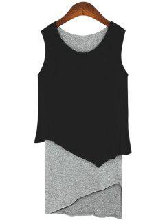 Color Block Faux Twinset Sundress - Black S
