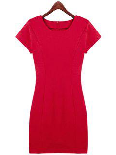 Red Short Sleeve Slimming Dress - Red M