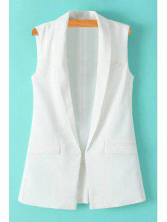 Solid Color Turn-Down Collar Waistcoat - White L