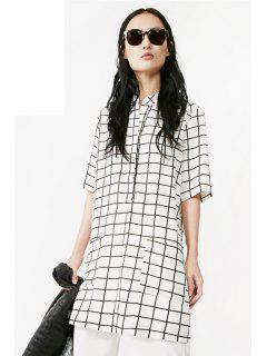 Plaid Pocket Half Sleeve Dress - White Xl