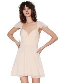 Solid Color Flounce Splicing Short Sleeve Dress - Apricot Xl