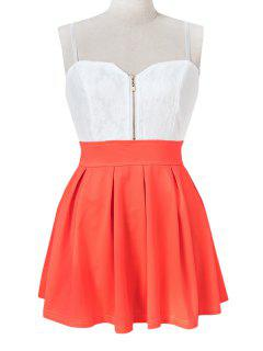 Spaghetti Straps Color Block Dress - Orange S