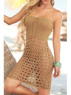 Strapless Hollow Crochet Dress - Khaki