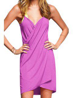 Spaghetti Strap Solid Color Cross Dress - Light Purple
