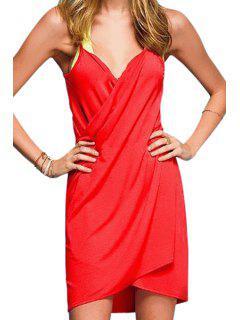 Spaghetti Strap Solid Color Cross Dress - Red