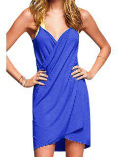 Spaghetti Strap Solid Color Cross Dress - Sapphire Blue