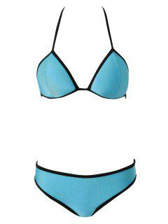 Color Block Tie-Up Bikini - Blue M