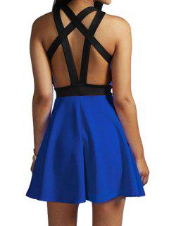 Black Bandage Backless Sleeveless Dress - Blue