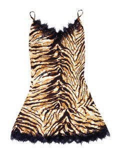Leopard Pattern Lace Splicing Sleeveless Dress - Earthy M