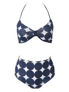 Polka Dot Print Bikini Set - Navy Blue 2xl