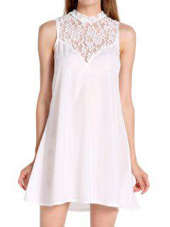 Round Neck Openwork Lace Splicing Dress - White L