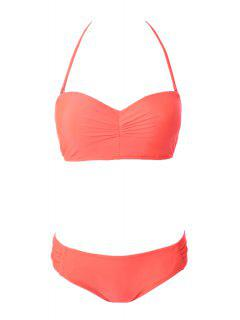 Solid Color Strapless Lace-Up Bikini Set - Orange L