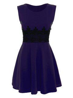 Black Lace Splicing Sleeveless Dress - Purple Xl
