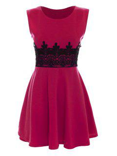 Black Lace Splicing Sleeveless Dress - Rose L