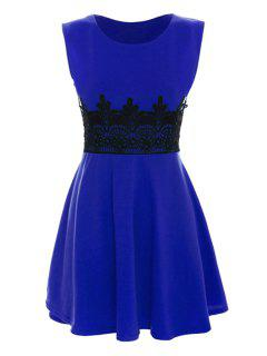 Black Lace Splicing Sleeveless Dress - Deep Blue L