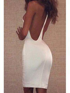Blanc Bretelles Robe Moulante - Blanc S