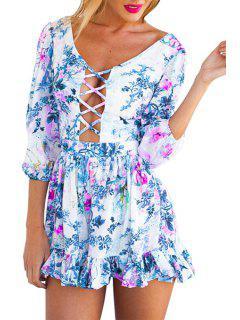 Floral Print Openwork Backless Tie-Up Dress - Blue L