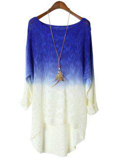 Bleu Spliced manches Longues Tricots - Bleu Saphir