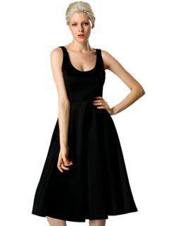 Scoop Neck Solid Color Backless Dress - Black L