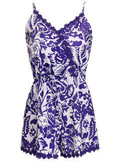 Floral Print Lace Splicing Sleeveless Romper - White And Purple Xl