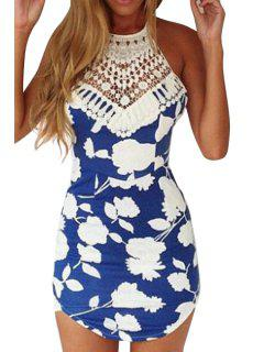 Floral Print Backless Lace Splicing Dress - Blue And White Xl