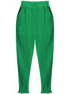 Pleated Chiffon Harem Pants - Green