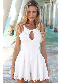 Lace Spliced Sleeveless A-Line Dress - White L