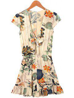 Floral Ruffles Short Sleeve Romper - L