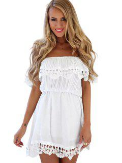 Ruffles Lacework Hem Slash Neck Dress - White M