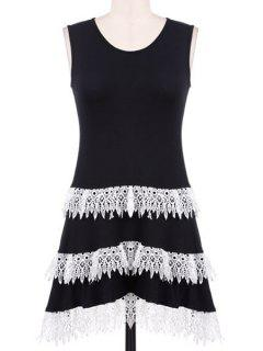 Lacework Spliced Scoop Neck Sundress - Black Xl