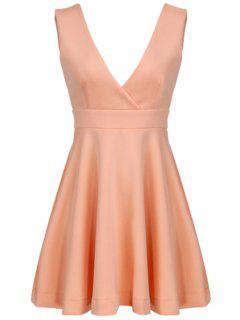 Pink Plunging Neck Sleeveless Dress - Pink L