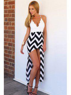 Lace Splicing Stripe Asymmetrical Dress - White And Black M